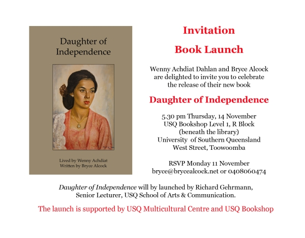 Invitation to book launch - Daughter of Independence