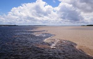 Rio Negro and Rio Solimoes meet near Manaus.