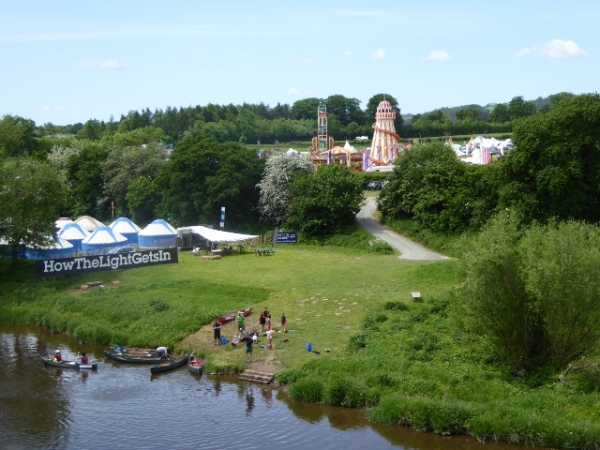One of the HowTheLightGetsIn sites and the Yurt field beside the River Wye